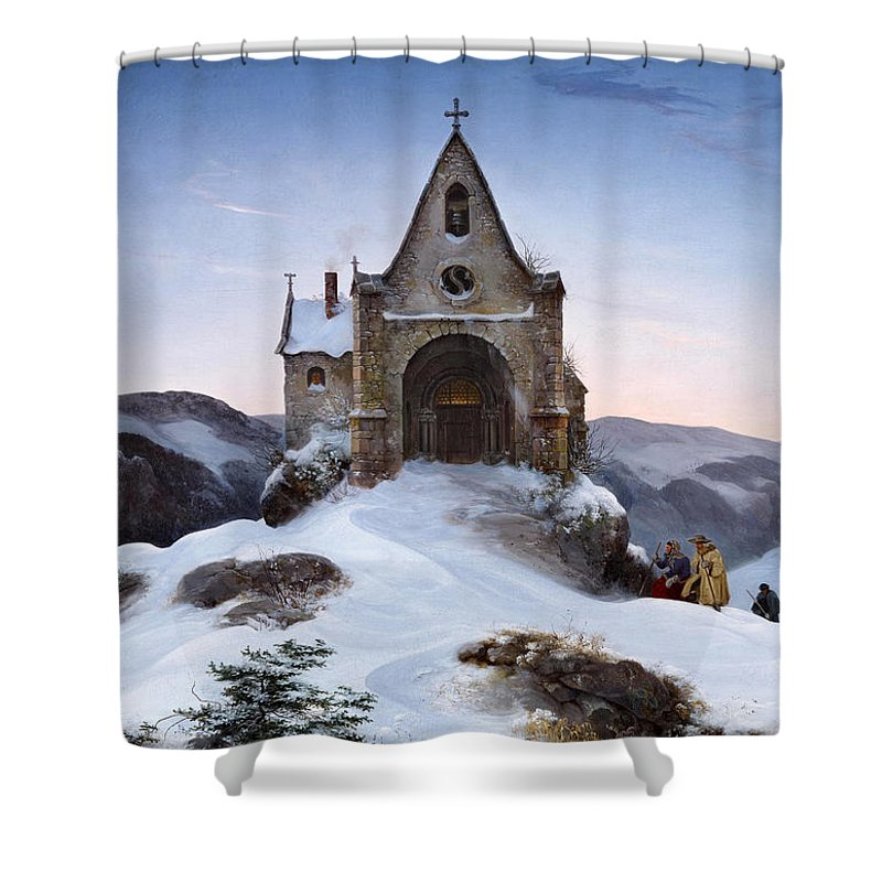 Ernst Ferdinand Oehme Shower Curtain featuring the painting Chapel On A Mountain In Winter by Ernst Ferdinand Oehme