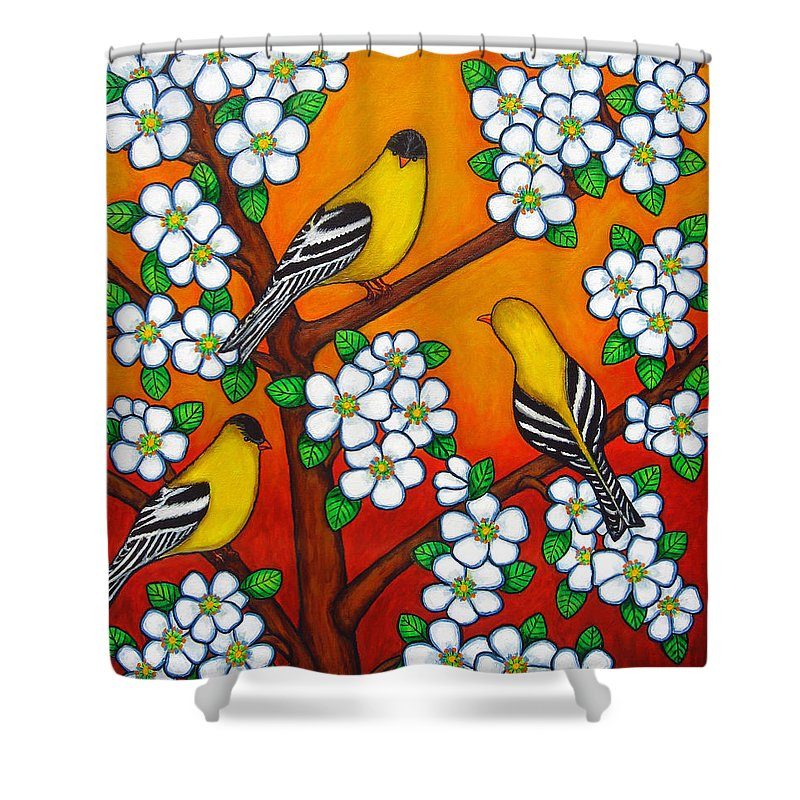 Goldfinch Shower Curtain featuring the painting Chardonnay Sunset by Lisa Lorenz