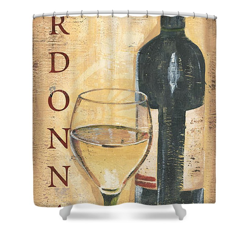 Wine Shower Curtain Featuring The Painting Chardonnay And Grapes By Debbie DeWitt