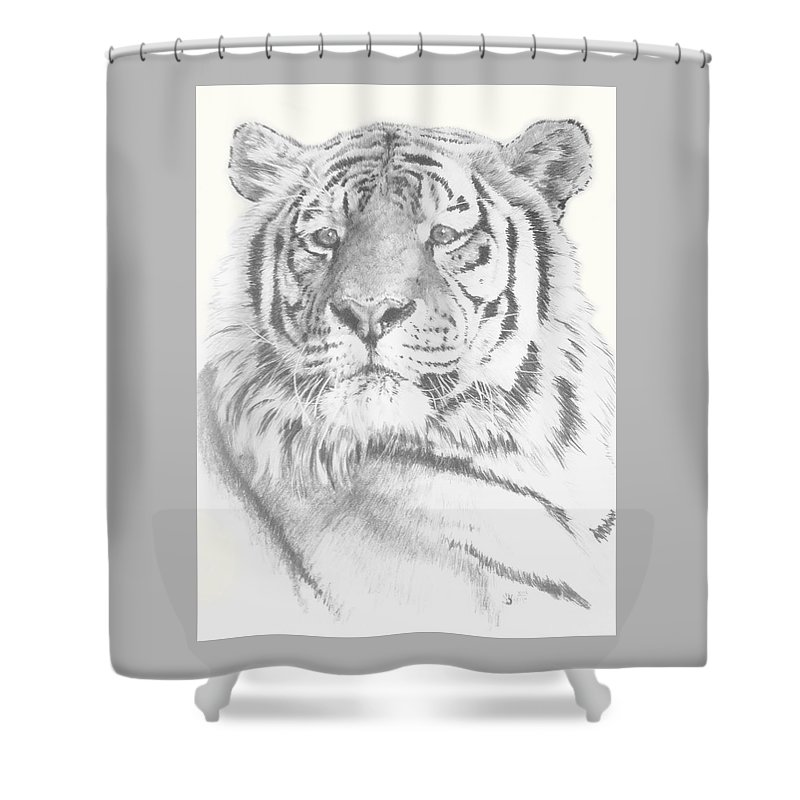Tiger Shower Curtain featuring the mixed media Charisma by Barbara Keith