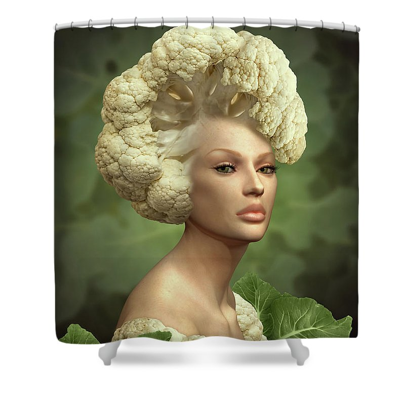 Cauliflower Shower Curtain Featuring The Mixed Media Charismatic  Cauliflower By Britta Glodde
