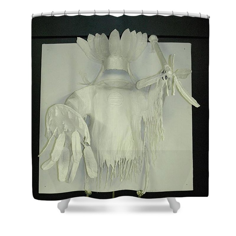 Shower Curtain featuring the sculpture Charles Hall - Creative Arts Program -spirits Of The Plains by Wayne Pruse