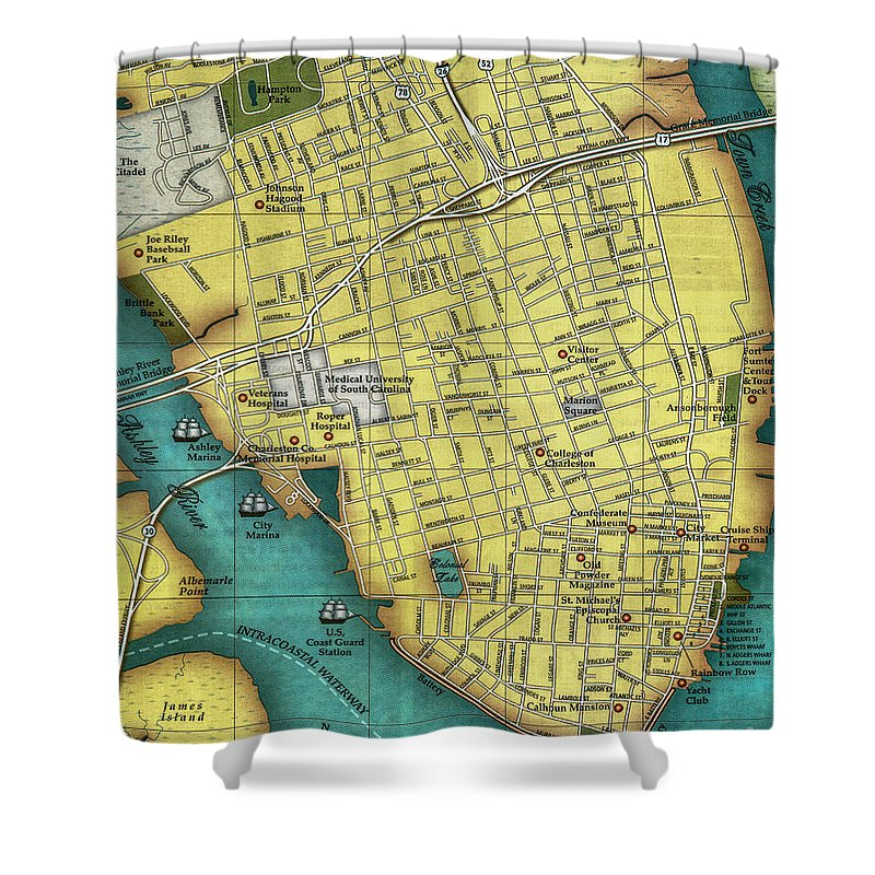 Charleston Sc Peninsula Map Shower Curtain for Sale by Dale Powell on