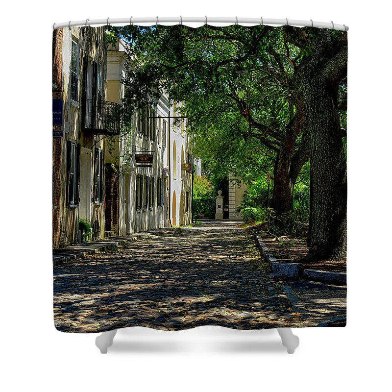 Side Shower Curtain featuring the photograph Charleston Side Street by TJ Baccari