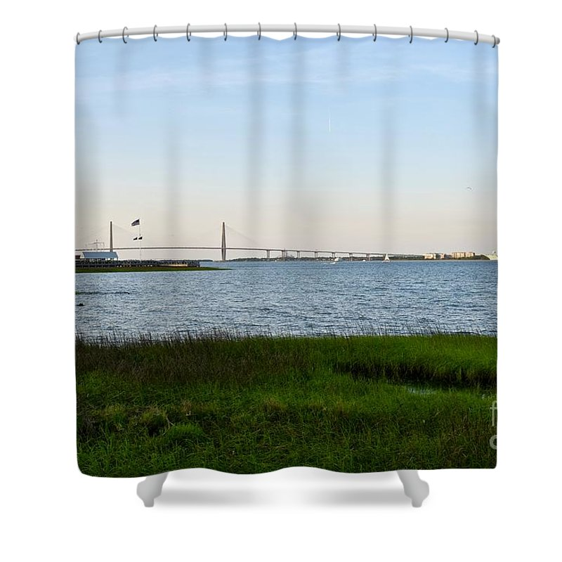 Bay Landscape Shower Curtain featuring the photograph Charleston South Carolina Waterfront Park During Sunset by Jeramey Lende