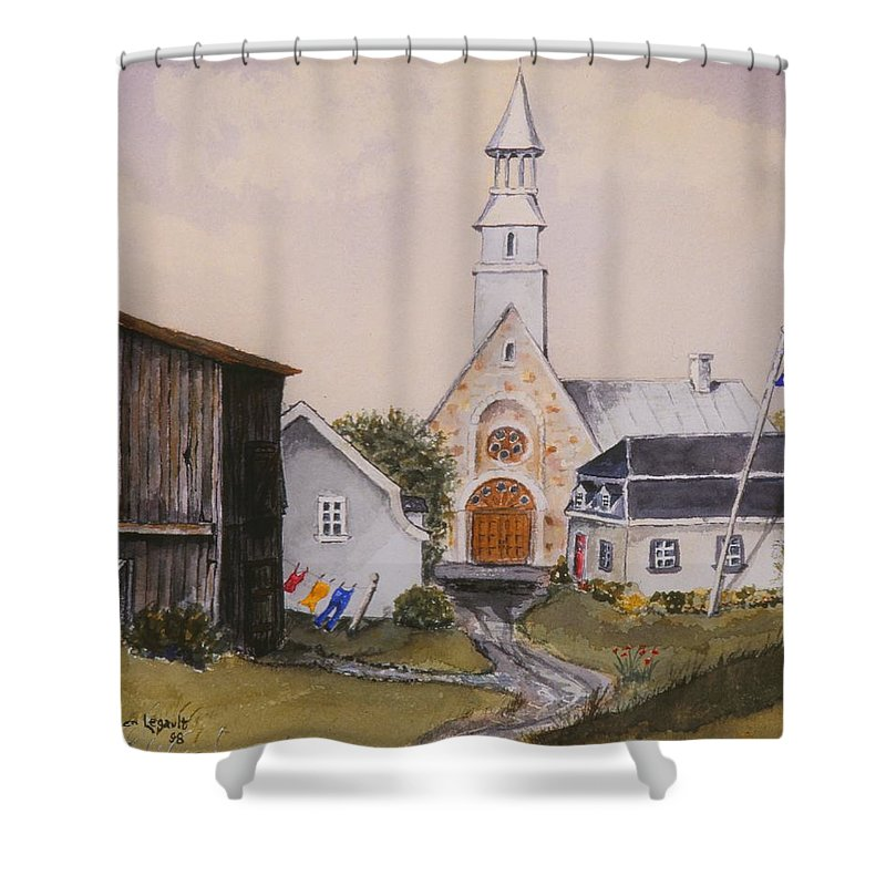 Landscape Shower Curtain featuring the painting Charlevoix Quebec by Mary Ellen Mueller Legault