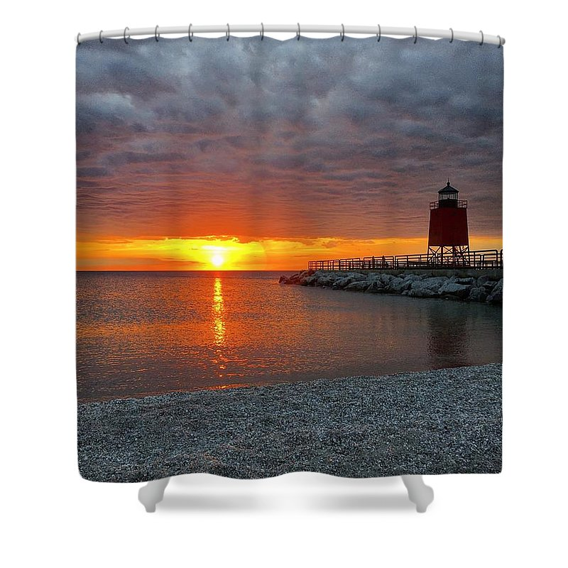 Charlevoix Shower Curtain featuring the photograph Charlevoix Sunset by Megan Noble