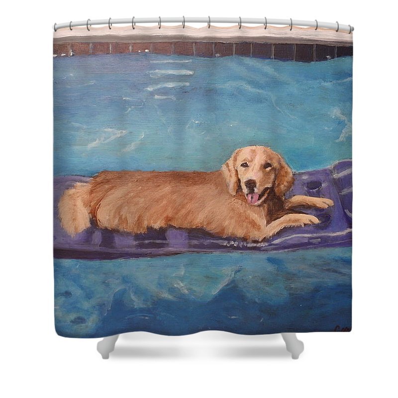 Golden Retriever Shower Curtain featuring the painting Charlie by Carol Russell