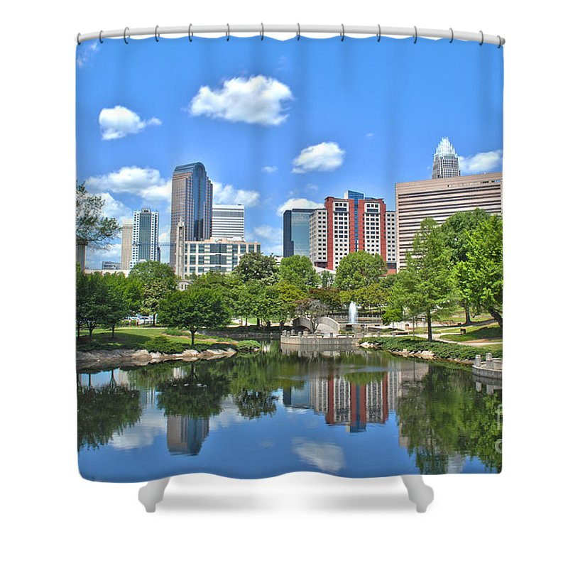 Charlotte Shower Curtain featuring the photograph Charlotte Skyline by Sarah Johnson