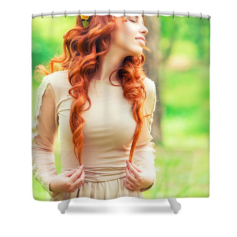 Adult Shower Curtain featuring the photograph Charming Young Woman In The Forest by Anna Om