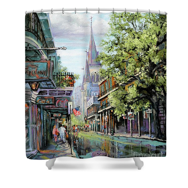 St. Louis Cathedral Shower Curtain featuring the painting Chartres Rain by Dianne Parks