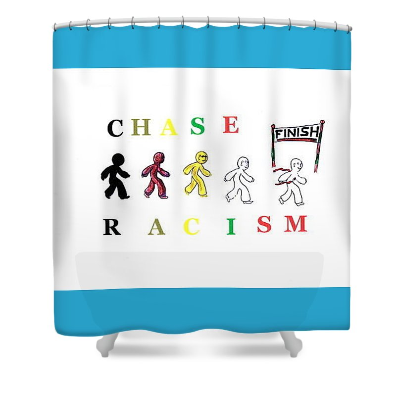 Race Shower Curtain featuring the painting Chase Racism by MERLIN Vernon