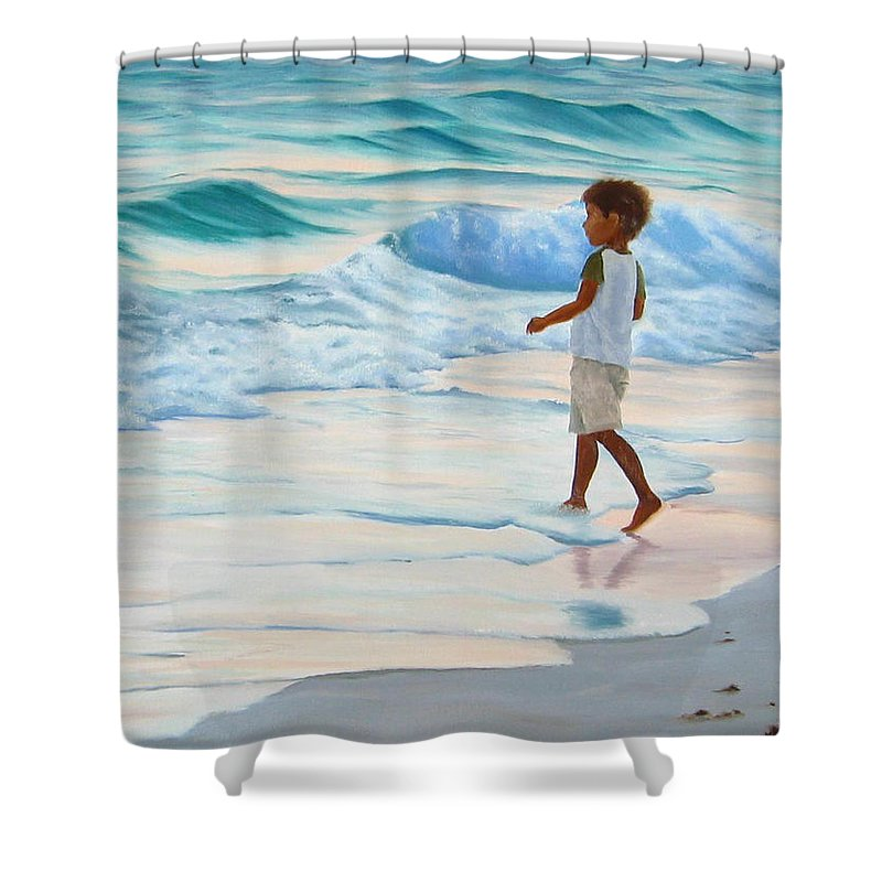Child Shower Curtain featuring the painting Chasing The Waves by Lea Novak