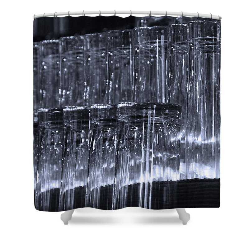 Tombstone Shower Curtain featuring the photograph Chasing Waterfalls - Blue by Linda Shafer