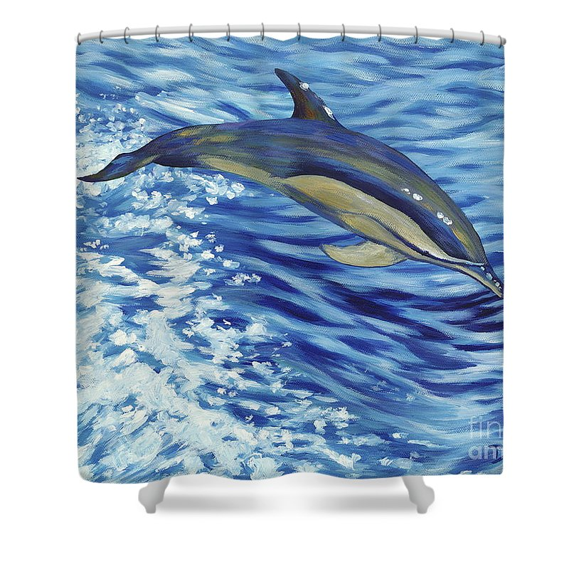 Atlantic Shower Curtain featuring the painting Chasing You by Danielle Perry