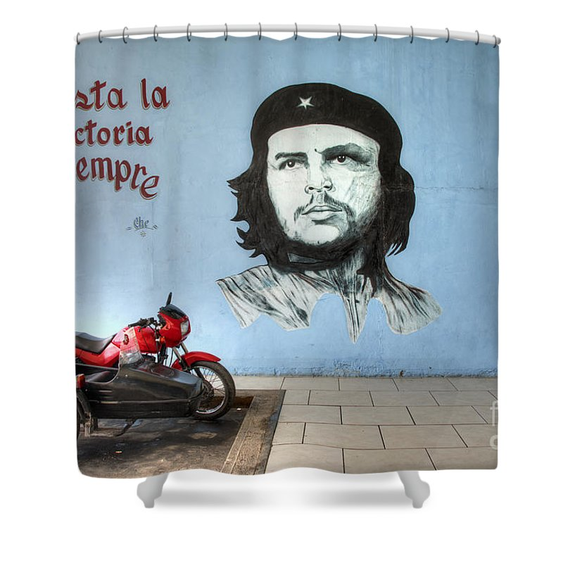 Che Guevara Shower Curtain featuring the photograph Che Bike by Rob Hawkins