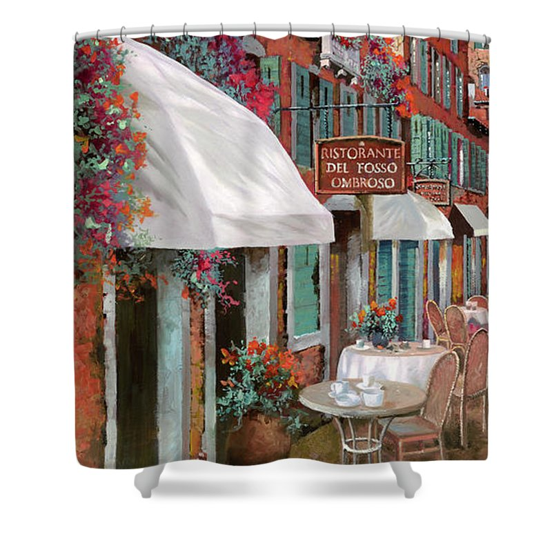 Table Shower Curtain featuring the painting Che Tavolo Vuoi by Guido Borelli