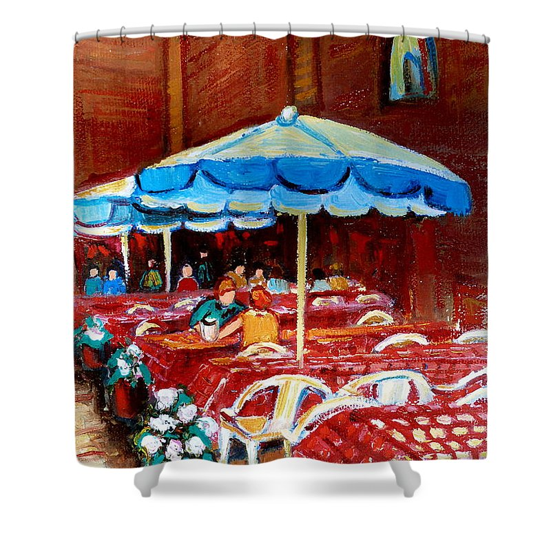Montreal Shower Curtain featuring the painting Checkered Tablecloths by Carole Spandau