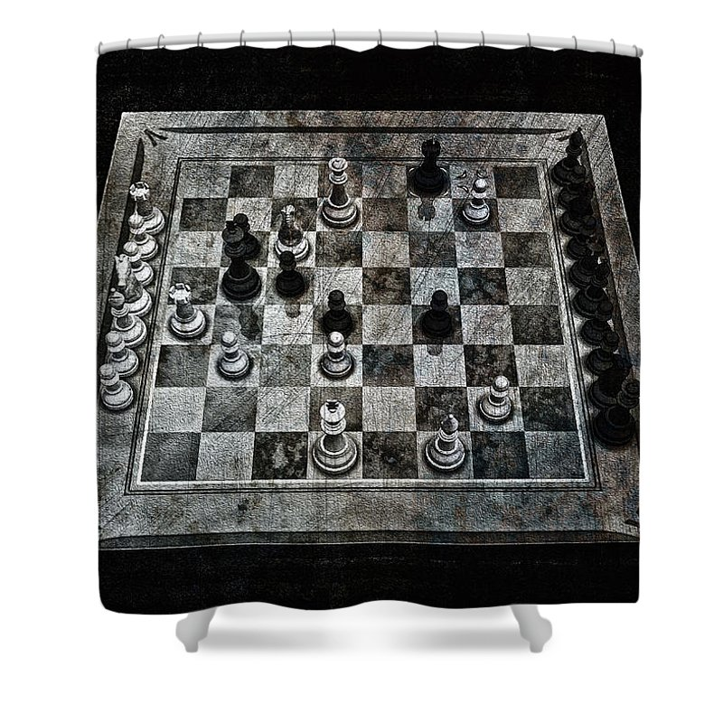 Checkmate In One Move Shower Curtain featuring the digital art Checkmate In One Move by Ramon Martinez