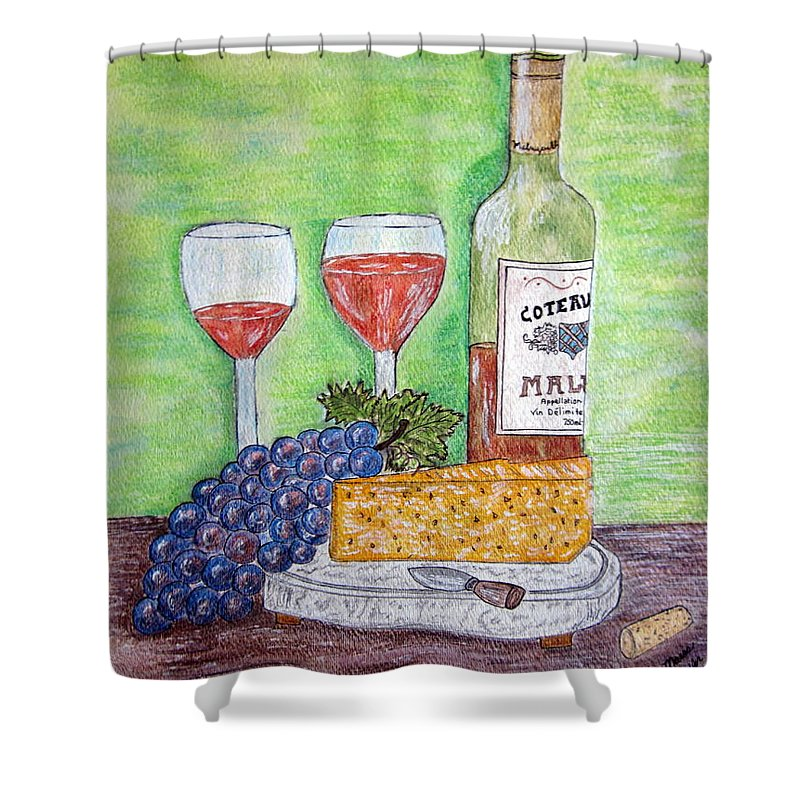 Cheese Shower Curtain featuring the painting Cheese Wine And Grapes by Kathy Marrs Chandler
