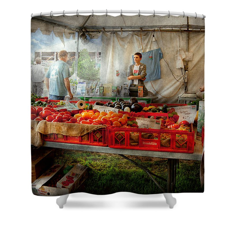 Chef Shower Curtain featuring the photograph Chef - Vegetable - Jersey Fresh Farmers Market by Mike Savad