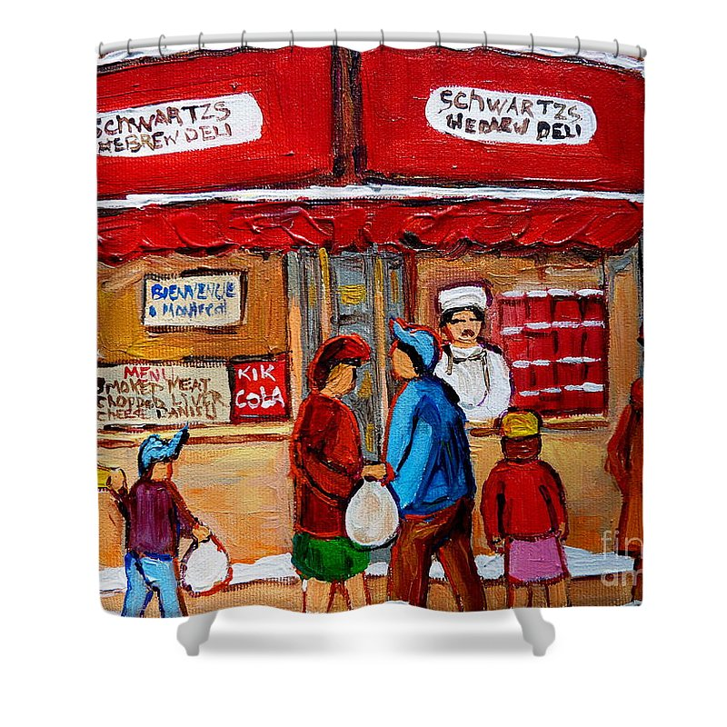 Schwartzs Hebrew Deli Shower Curtain featuring the painting Chef In The Window by Carole Spandau
