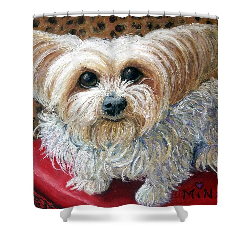 Dog Shower Curtain featuring the painting My Friend by Minaz Jantz