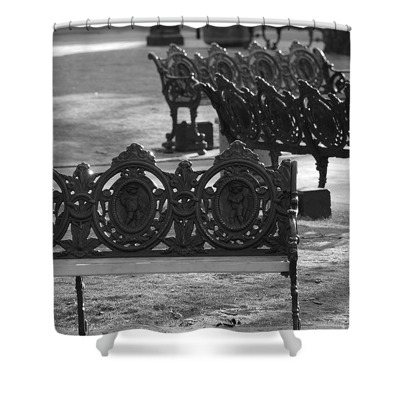 Black And White Shower Curtain featuring the photograph Cherb Benches by Rob Hans