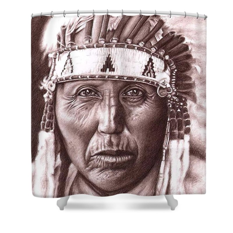 Indian Shower Curtain featuring the drawing Cherokee by Nicole Zeug