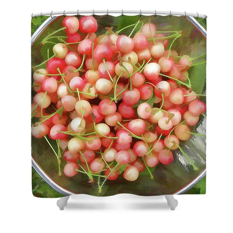 Cherries Shower Curtain featuring the painting Cherries 8 by Jeelan Clark