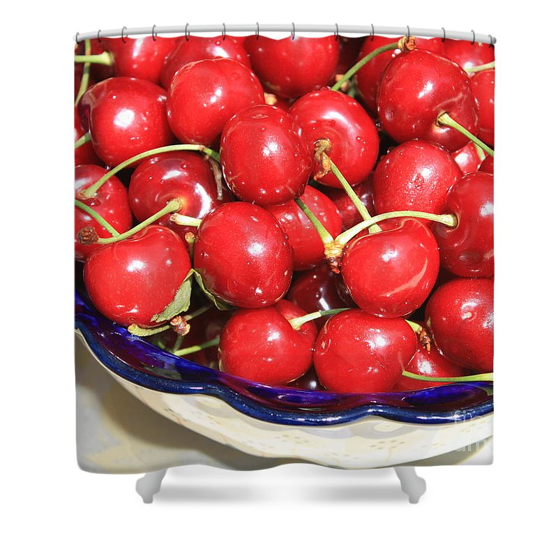 Food Shower Curtain featuring the photograph Cherries In A Bowl Close-up by Carol Groenen