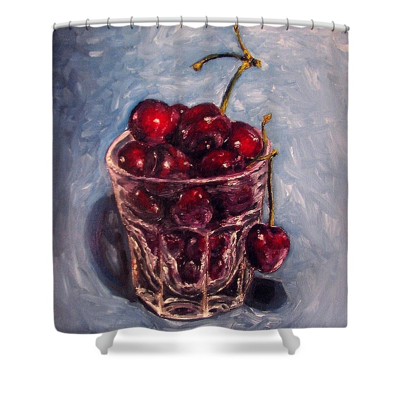 Red Shower Curtain featuring the painting Cherries Original Oil Painting by Natalja Picugina