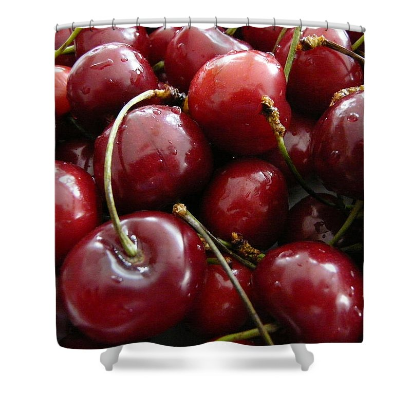 Cherries Shower Curtain featuring the photograph Cherries by Valerie Ornstein