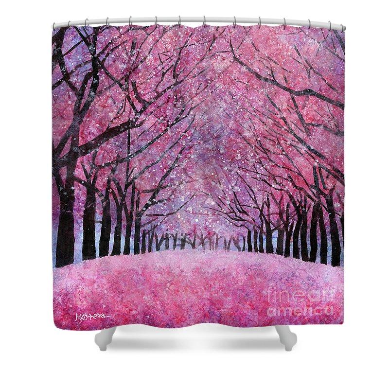 Cherry Blossom Shower Curtain featuring the painting Cherry Blast by Hailey E Herrera