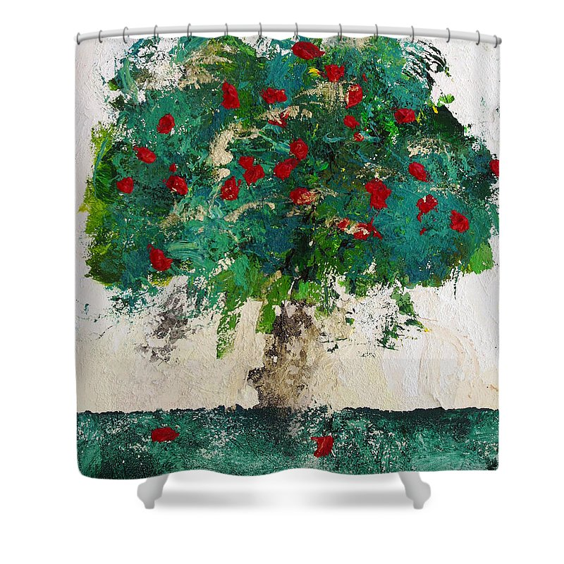 Tree Shower Curtain featuring the painting Cherry Blossom by Empowered Creative Fine Art