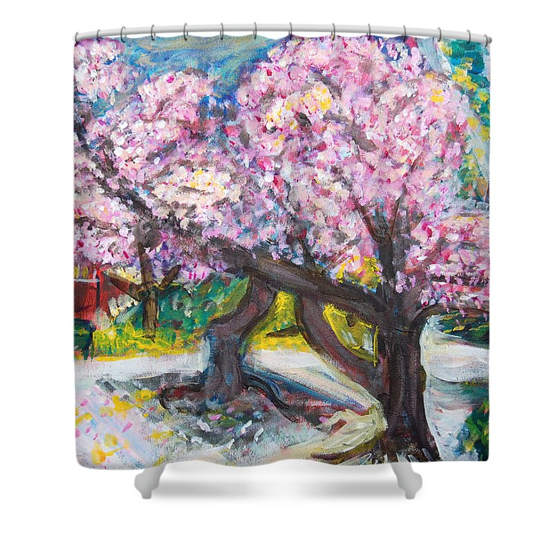 Cherry Tree Shower Curtain featuring the painting Cherry Blossom Time by Carolyn Donnell
