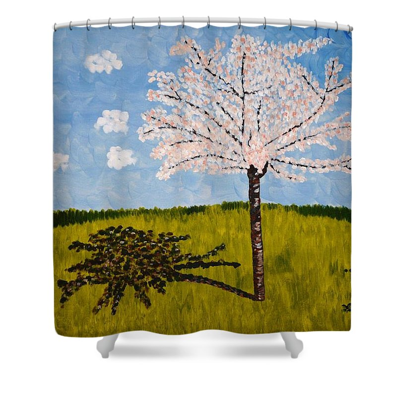Cherry Shower Curtain featuring the painting Cherry Blossom Tree by Valerie Ornstein