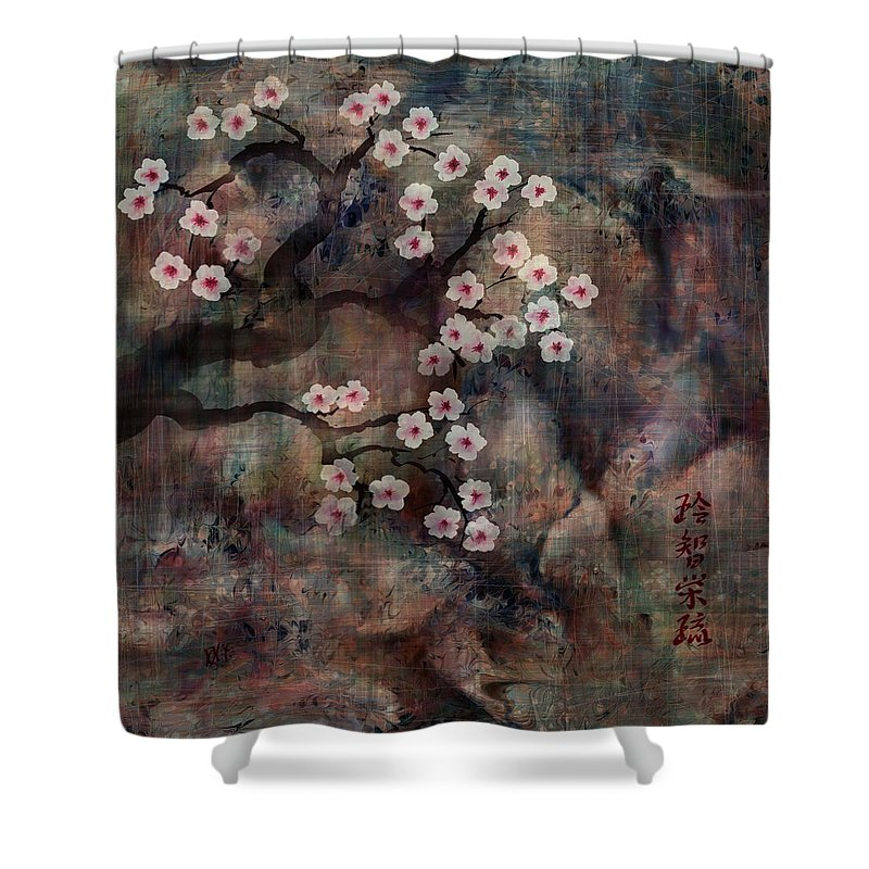 Landscape Shower Curtain featuring the digital art Cherry Blossoms by William Russell Nowicki