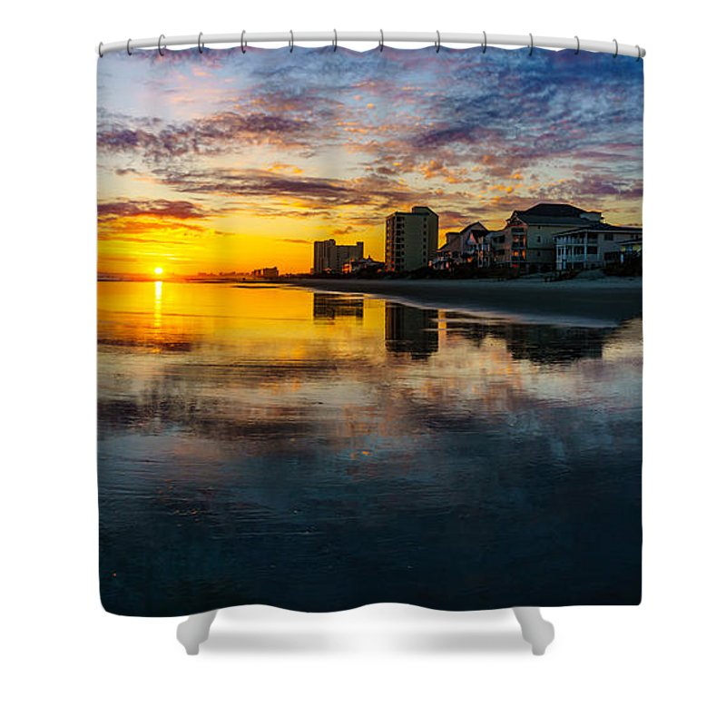 Myrtle Beach Days Collection Shower Curtain featuring the photograph Cherry Grove Beach Front Sunset by David Smith