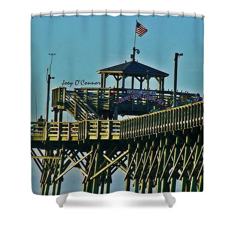 Cherry Grove Shower Curtain featuring the photograph Cherry Grove Pier - Closeup End Of Pier by Joey OConnor