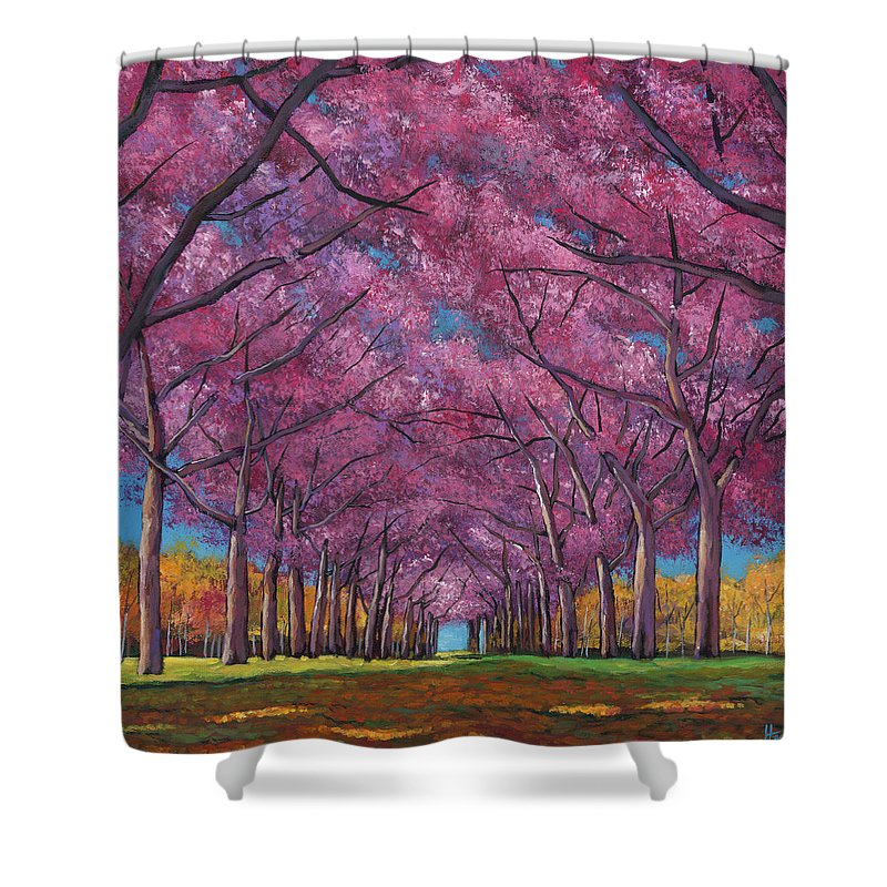 Contemporary Landscape Shower Curtain featuring the painting Cherry Lane by Johnathan Harris