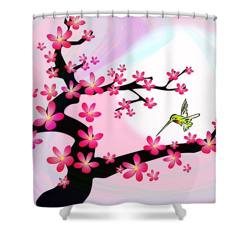 Cherry Shower Curtain featuring the digital art Cherry Tree by Anastasiya Malakhova