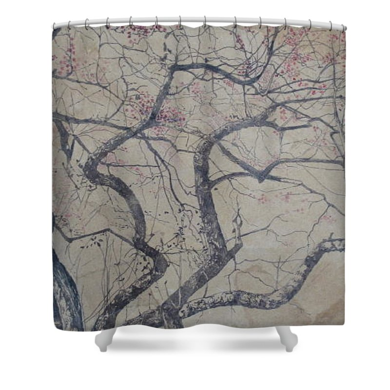 Crab Apple Shower Curtain featuring the painting Prairie Fire by Leah Tomaino