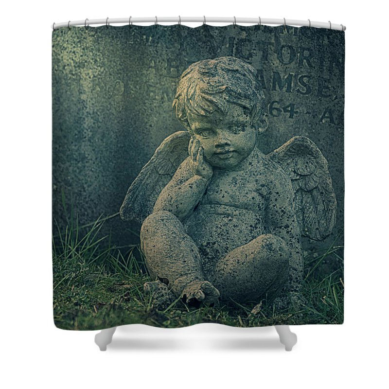 Anglican Shower Curtain featuring the photograph Cherub Lost In Thoughts by Monika Tymanowska