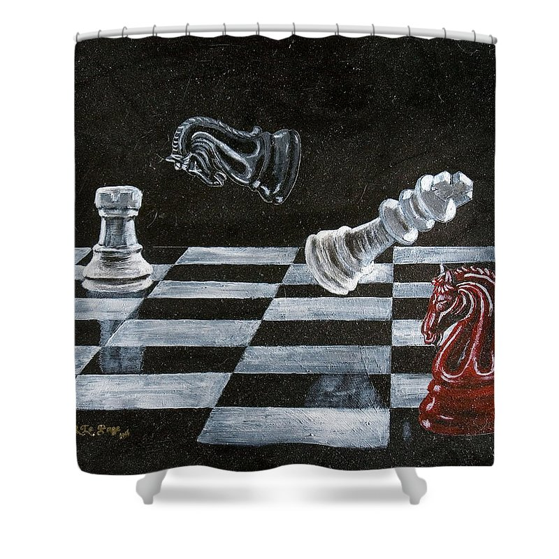 Chess Shower Curtain featuring the painting Chess by Richard Le Page