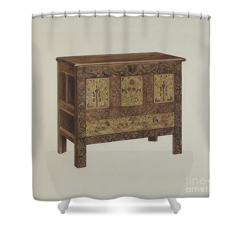 Shower Curtain featuring the drawing Chest by Arthur Johnson