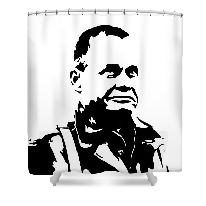Chesty Puller Shower Curtain featuring the digital art Chesty Puller by War Is Hell Store