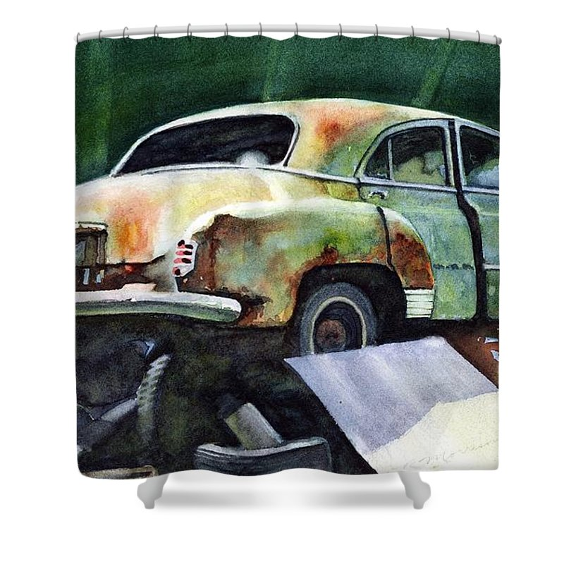 Chev Shower Curtain featuring the painting Chev At Rest by Ron Morrison