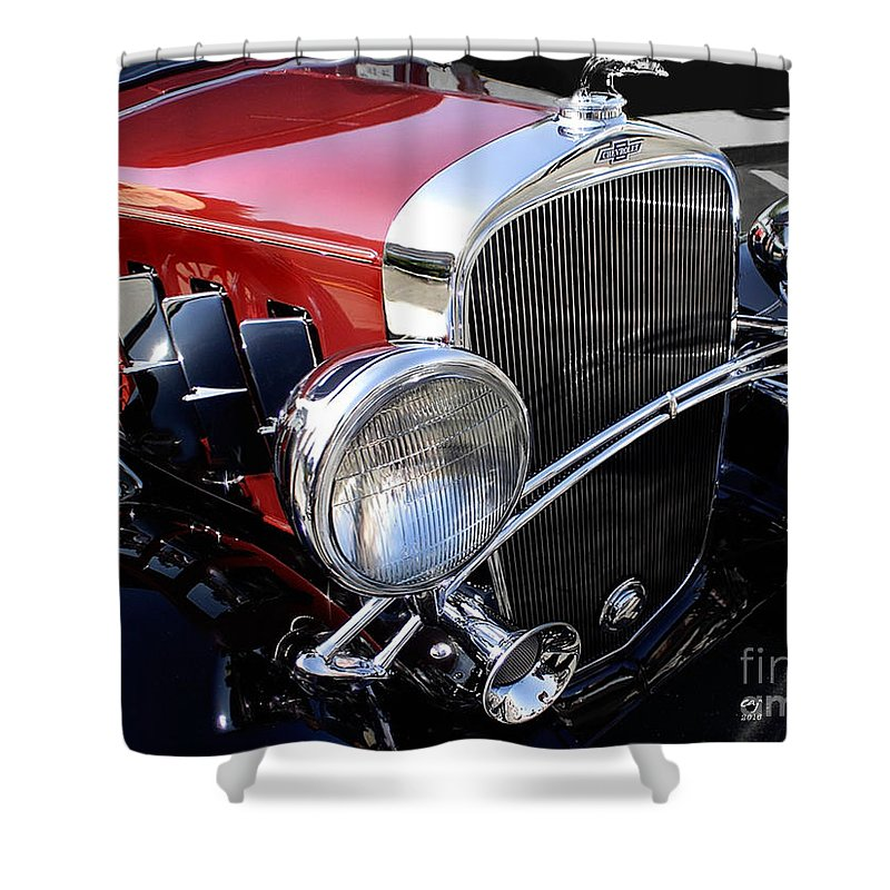 Chevrolet Shower Curtain featuring the photograph Chevrolet 1932 Deluxe Coupe by Curt Johnson