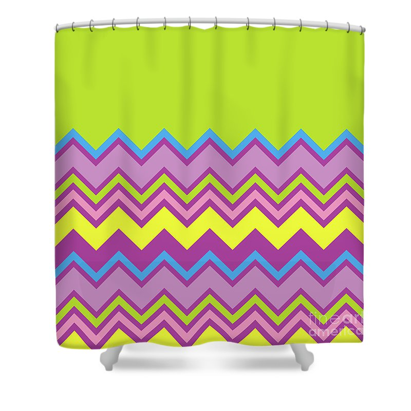 Lime Green Shower Curtain Featuring The Digital Art Chevron Bright Yellow Blue Purple Zigzag Pattern